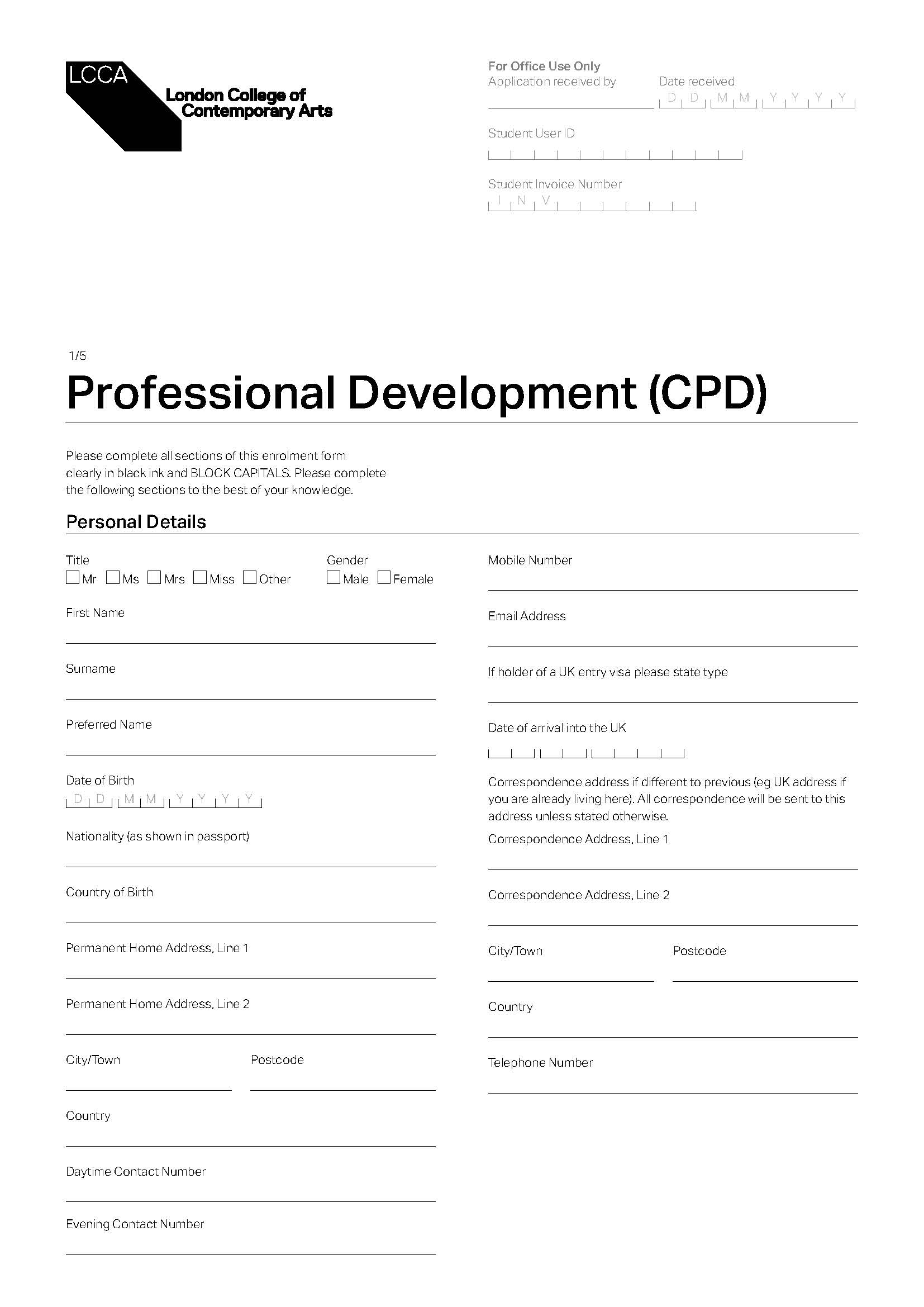 SHORT COURSES APPLICATION FORM - CPD